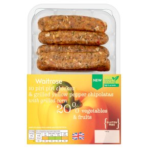 Waitrose 10 Piri Piri Chicken & Pepper Chipolatas