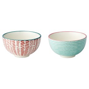 Waitrose Oriental Nibble Bowls Aqua/Pink