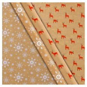 Waitrose Kraft Wrap Snowflake or Reindeer 1 Roll