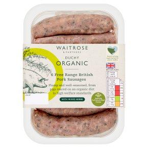 Waitrose Duchy Organic 6 British free range pork sausages with mixed herbs