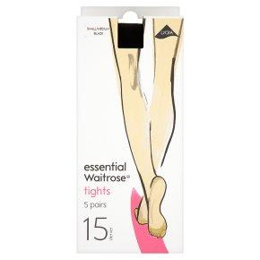 essential Waitrose 15 denier black tights, pack of 5 (small - medium)