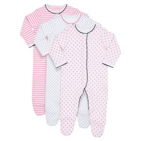 Waitrose 3PK Stars&Stripes S/Suits 0-3M