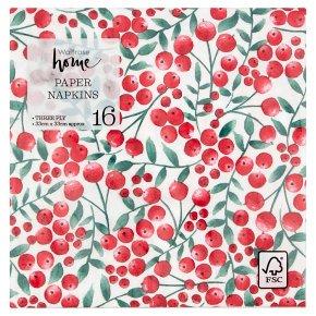 Waitrose Christmas Berry Trail Napkins 33cm x 33cm