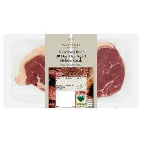 Waitrose 1 Hereford 30 day dry aged beef sirloin steak
