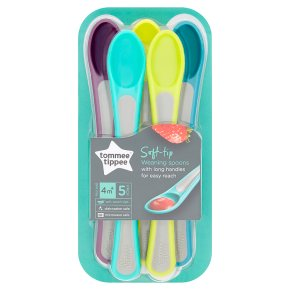 Tommee Tippee 4month+ soft tip weaning spoons, pack of 5, assorted