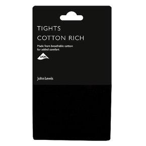 John Lewis Opaque Black Cotton Rich Tights - Large