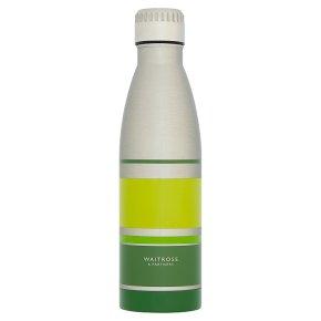 Waitrose Steel Water Bottle Green Stripe