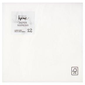 Waitrose Home 40cm linen feel white napkins, pack of 12
