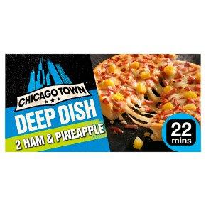 Chicago Town 2 Deep Dish Ham & Pineapple Pizzas