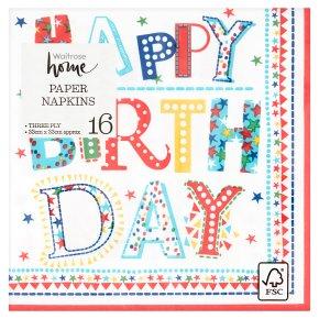 Waitrose Home Birthday Napkin 33cm x 33cm