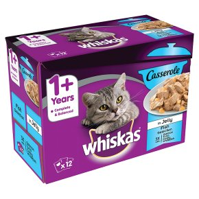 WHISKAS 1+ Cat Pouches Casserole Fish Selection in Jelly 12 x 85g