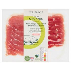 Waitrose Duchy Organic British free range dry cured cherrywood smoked back bacon, 6 rashers