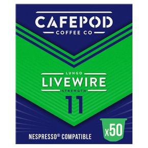 CafePod Livewire Lungo Pods 50s