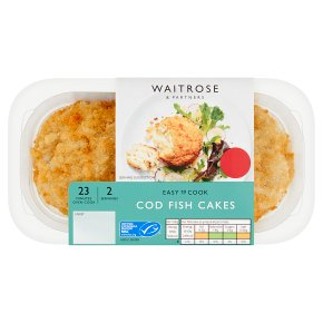 Waitrose Easy to Cook 2 cod fish cakes with cheddar & lemon