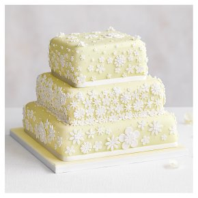 Blossom 3 Tier Pastel Yellow Wedding Cake, Fruit (Base tier) & Golden Sponge (top 2 tiers)