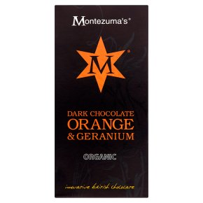Montezuma's Organic dark chocolate with orange & geranium