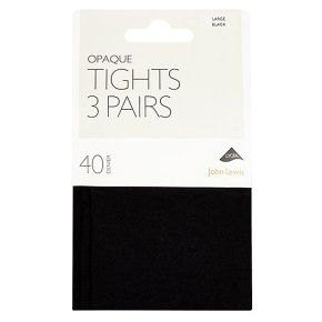 John Lewis 40 denier black opaque tights, pack of 3 (medium)