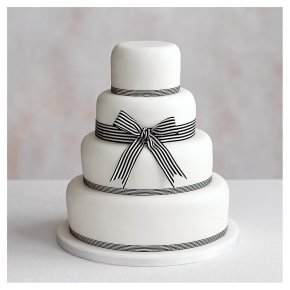 Classic Ribbon' 4 tier  White Wedding Cake, Fruit (all tiers)