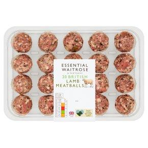 essential Waitrose 20 British Gluten Free Lamb Meatballs