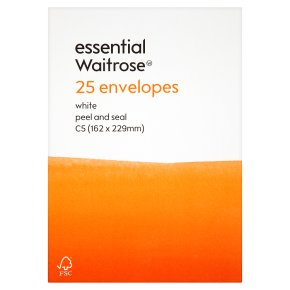 essential Waitrose 162x229mm C5 white envelopes, pack of 25