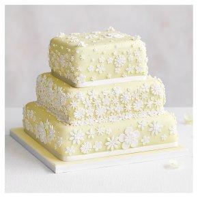 Blossom 3 Tier Pastel Yellow Wedding Cake, Fruit (Base tier) & Lemon Sponge (top 2 tiers)