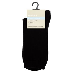 Waitrose Pure Cotton Ankle Socks Black