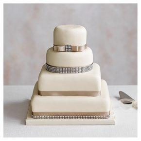 Diamante 4 Tier Ivory Wedding Cake,  Fruit (base) & Chocolate Sponge (3 tiers)