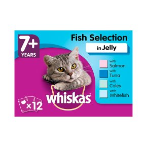 WHISKAS 7+ Senior Cat Pouches Fish Selection in Jelly 12 x 100g