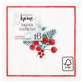 Waitrose Christmas Berry Trail Napkins 24cm x 24cm