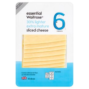 essential Waitrose lighter extra mature cheese, strength 6, 10 slices