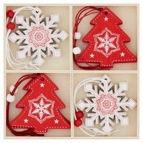 Waitrose Red & White Tree & Snowflakes