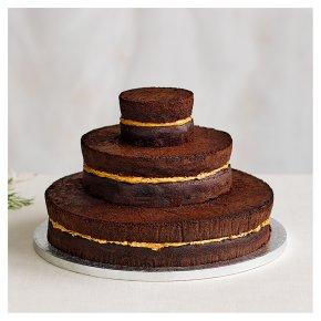 Naked Chocolate 3 tier Wedding Cake, Chocolate Sponge (3 tiers)