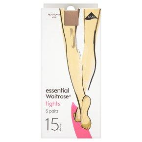 essential Waitrose 15 denier natural tights, pack of 5 (medium - large)