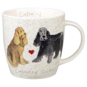 Alex Clark contented cockers mug