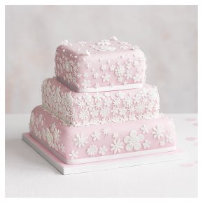 Blossom 3 Tier Pastel Pink Wedding Cake, Golden Sponge (all tiers)