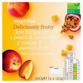Waitrose 4 deliciously fruity peach / mango low fat yogurts