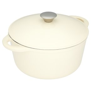 Waitrose Cooking cream round cast iron lidded casserole dish