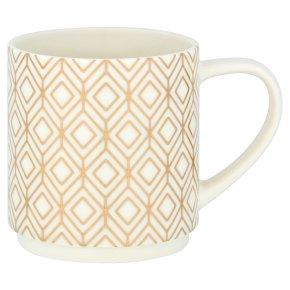 Waitrose Metallic Stack Mug White Geo