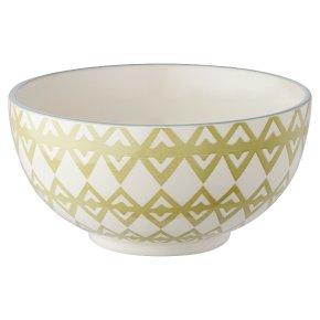 Oriental Bowl Medium Green Triangles