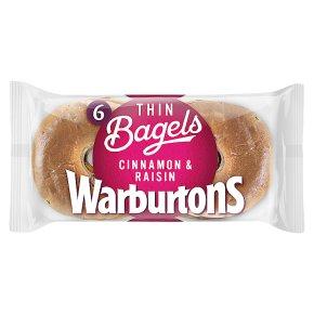 Warburtons Thin Bagels Cinnamon & Raisin