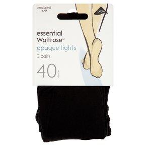 essential Waitrose 40 denier black tights, pack of 3 (medium - large)