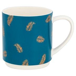 Waitrose Metallic Stack Mug Teal Feather