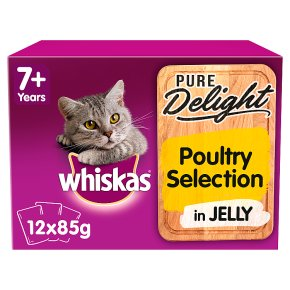 Whiskas Pure Delight Poultry Collection in Jelly Senior 7+ Wet Cat Food Pouches 12 x 85g
