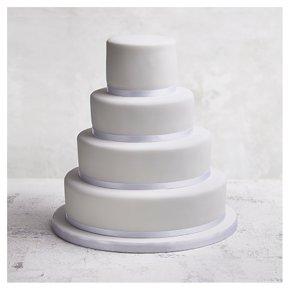 Classic Ribbon' 4 tier  White Wedding Cake, Fruit (Base tier) & Golden Sponge (1 tier) & Chocolate (top 2 tiers)