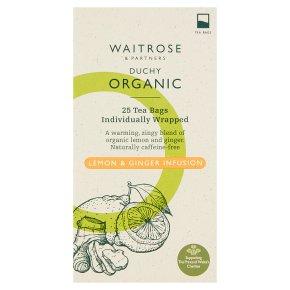 Waitrose Duchy Organic lemon & ginger infusion tea, 25 bags