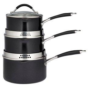 Waitrose Cooking 3 Piece Aluminium Saucepan Set