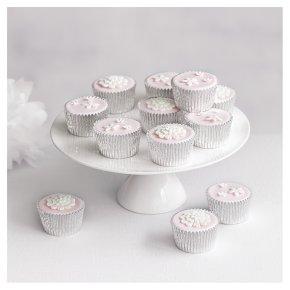 12 Blossom Golden Sponge Pastel Pink  Cupcakes