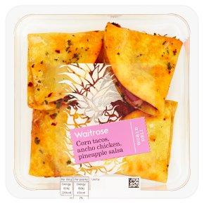 Waitrose World Deli Corn Tacos, Ancho Chicken, Pineapple