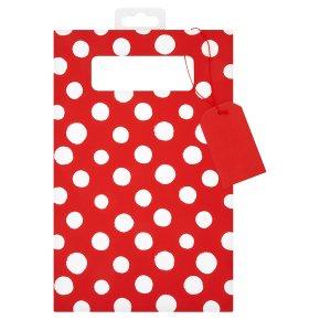 Waitrose red & white spot DVD gift bag