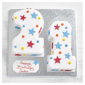 21st Birthday stars and dots cake